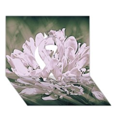 White Flower Ribbon 3d Greeting Card (7x5)