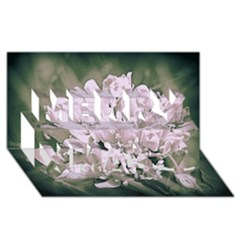 White Flower Merry Xmas 3d Greeting Card (8x4)