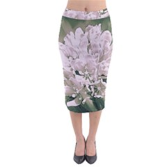White Flower Midi Pencil Skirt by uniquedesignsbycassie