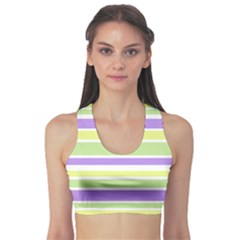 Yellow Purple Green Stripes Sports Bra by BrightVibesDesign