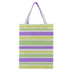 Yellow Purple Green Stripes Classic Tote Bag by BrightVibesDesign