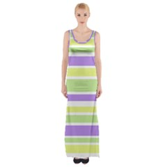 Yellow Purple Green Stripes Maxi Thigh Split Dress by BrightVibesDesign