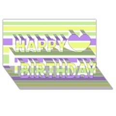 Yellow Purple Green Stripes Happy Birthday 3d Greeting Card (8x4)  by BrightVibesDesign