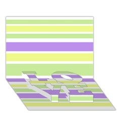 Yellow Purple Green Stripes Love Bottom 3d Greeting Card (7x5)