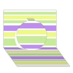 Yellow Purple Green Stripes Circle 3d Greeting Card (7x5)  by BrightVibesDesign