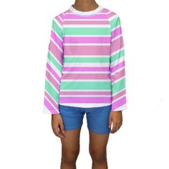 Pink Green Stripes Kid s Long Sleeve Swimwear by BrightVibesDesign