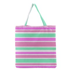 Pink Green Stripes Grocery Tote Bag by BrightVibesDesign