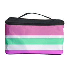 Pink Green Stripes Cosmetic Storage Cases by BrightVibesDesign