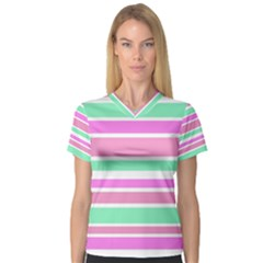 Pink Green Stripes Women s V Neck Sport Mesh Tee by BrightVibesDesign