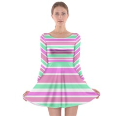 Pink Green Stripes Long Sleeve Skater Dress by BrightVibesDesign