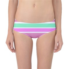 Pink Green Stripes Classic Bikini Bottoms by BrightVibesDesign