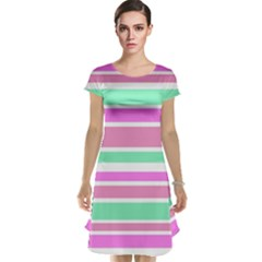 Pink Green Stripes Cap Sleeve Nightdress by BrightVibesDesign