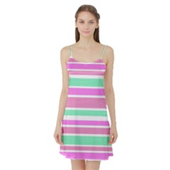 Pink Green Stripes Satin Night Slip by BrightVibesDesign