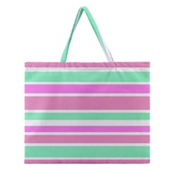 Pink Green Stripes Zipper Large Tote Bag by BrightVibesDesign