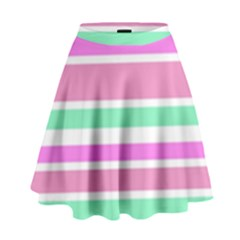 Pink Green Stripes High Waist Skirt by BrightVibesDesign