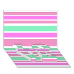 Pink Green Stripes Love Bottom 3d Greeting Card (7x5)  by BrightVibesDesign