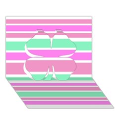 Pink Green Stripes Clover 3d Greeting Card (7x5)  by BrightVibesDesign