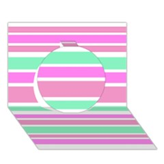 Pink Green Stripes Circle 3d Greeting Card (7x5)  by BrightVibesDesign