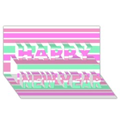 Pink Green Stripes Happy New Year 3d Greeting Card (8x4)  by BrightVibesDesign