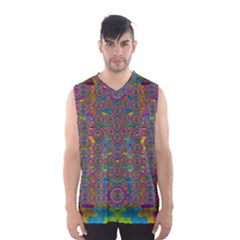 Peacock Eyes In A Contemplative Style Men s Basketball Tank Top by pepitasart