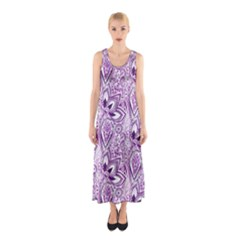 Purple Paisley Doodle Sleeveless Maxi Dress by KirstenStar