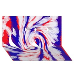 Groovy Red White Blue Swirl Twin Hearts 3d Greeting Card (8x4)  by BrightVibesDesign