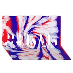 Groovy Red White Blue Swirl #1 Dad 3d Greeting Card (8x4)  by BrightVibesDesign