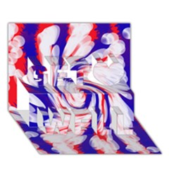 Groovy Red White Blue Swirl Get Well 3d Greeting Card (7x5)  by BrightVibesDesign