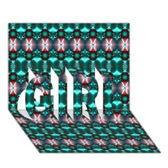 Fancy Teal Red Pattern Girl 3d Greeting Card (7x5)  by BrightVibesDesign