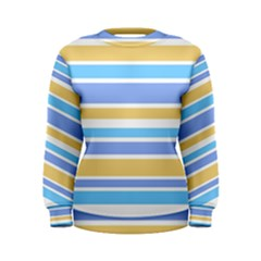 Blue Yellow Stripes Women s Sweatshirt by BrightVibesDesign