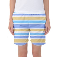 Blue Yellow Stripes Women s Basketball Shorts by BrightVibesDesign