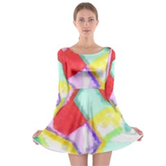 Watercolors Shapes                                         Long Sleeve Skater Dress by LalyLauraFLM
