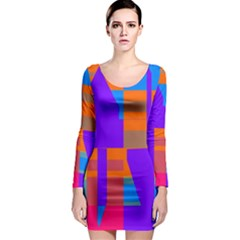 Misc Colorful Shapes                                           Long Sleeve Bodycon Dress by LalyLauraFLM