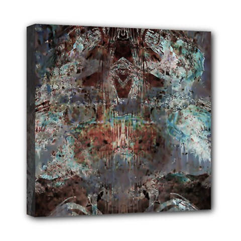 Metallic Copper Patina Urban Grunge Texture Mini Canvas 8  X 8  (stretched) by CrypticFragmentsDesign