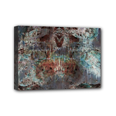 Metallic Copper Patina Urban Grunge Texture Mini Canvas 7  X 5  (stretched) by CrypticFragmentsDesign