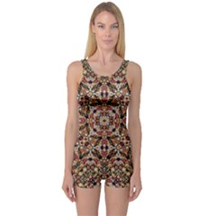 Boho Chic One Piece Boyleg Swimsuit by dflcprintsclothing