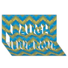 Blue And Yellow Laugh Live Love 3d Greeting Card (8x4)