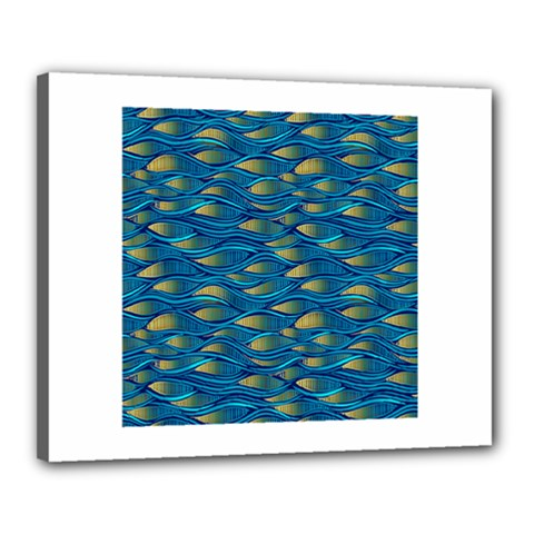 Blue Waves Canvas 20  X 16  by FunkyPatterns