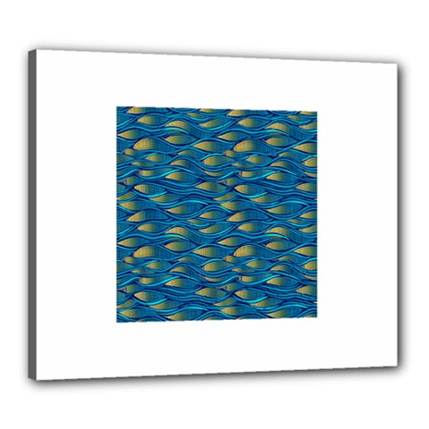 Blue Waves Canvas 24  X 20  by FunkyPatterns