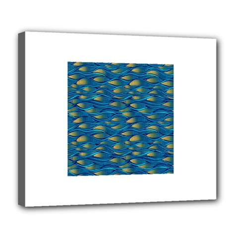 Blue Waves Deluxe Canvas 24  X 20   by FunkyPatterns