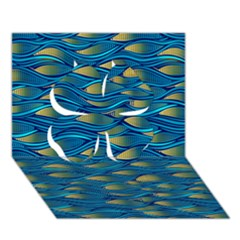 Blue Waves Clover 3d Greeting Card (7x5)  by FunkyPatterns