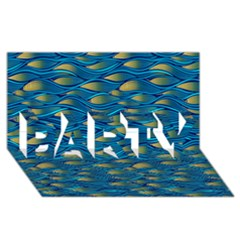 Blue Waves Party 3d Greeting Card (8x4)  by FunkyPatterns