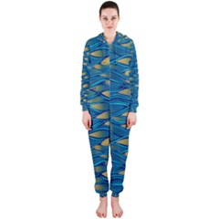 Blue Waves Hooded Jumpsuit (ladies)  by FunkyPatterns