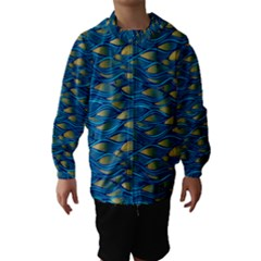 Blue Waves Hooded Wind Breaker (kids) by FunkyPatterns