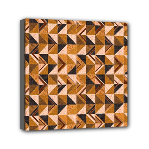 Brown Tiles Mini Canvas 6  X 6  by FunkyPatterns