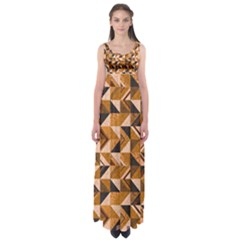 Brown Tiles Empire Waist Maxi Dress by FunkyPatterns