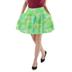 Green Glowing A Line Pocket Skirt