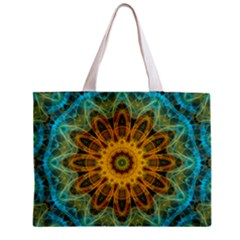 Blue Yellow Ocean Star Flower Mandala Zipper Mini Tote Bag by Zandiepants