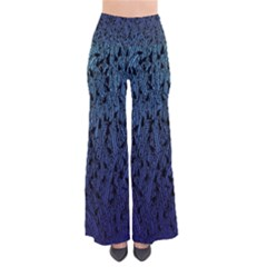 Blue Ombre Feather Pattern, Black,  Pants by Zandiepants
