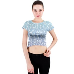 Blue Ombre Feather Pattern, White,  Crew Neck Crop Top by Zandiepants